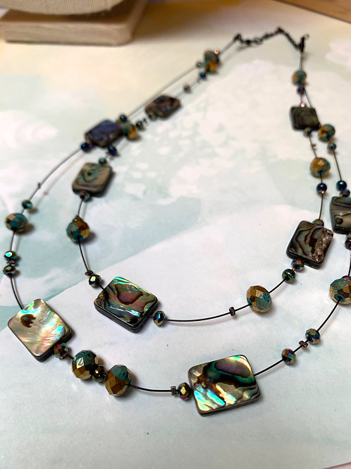 Square abalone 2 wires necklace and earrings