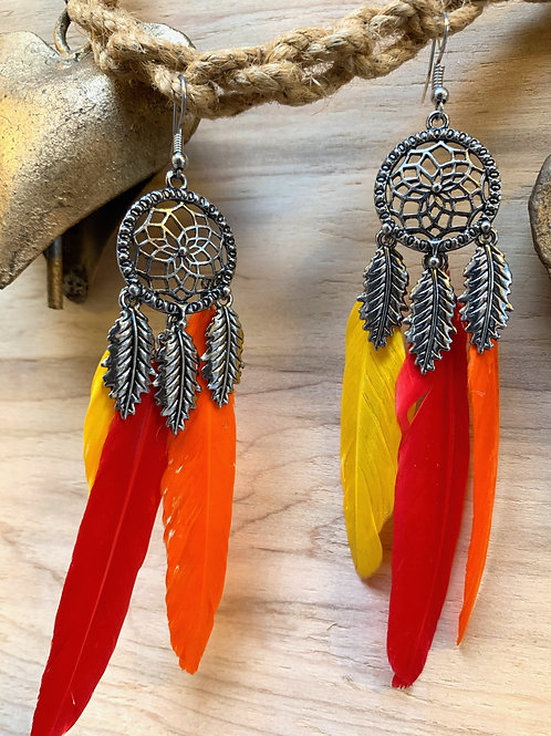 Red, yellow, orange feathers and silver dream catcher earrings