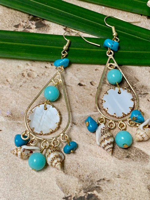 Small Cadiz, Turquoise and seashell Charms