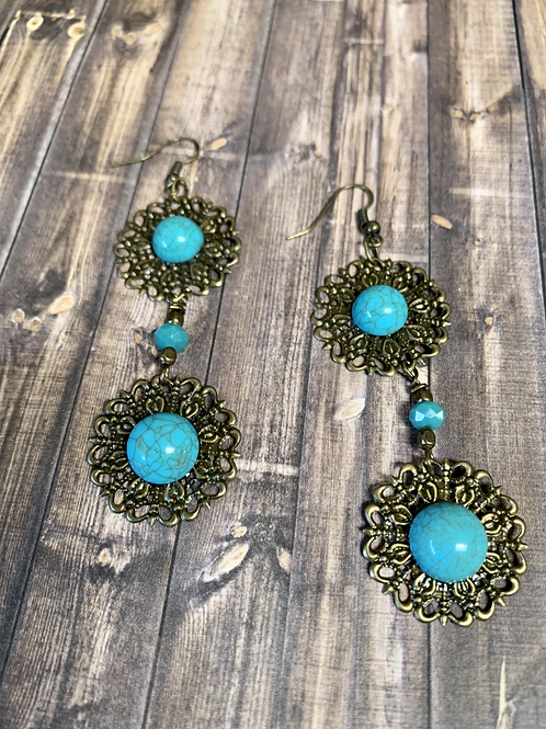 Blue turquoise color earrings