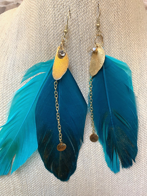 2 feathers shades of blue