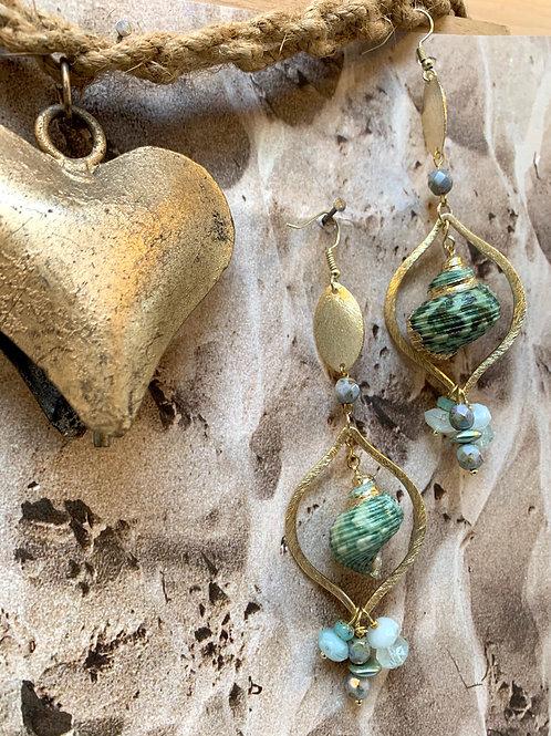 Golden Trimmed Green Turban Shell teardrop earrings
