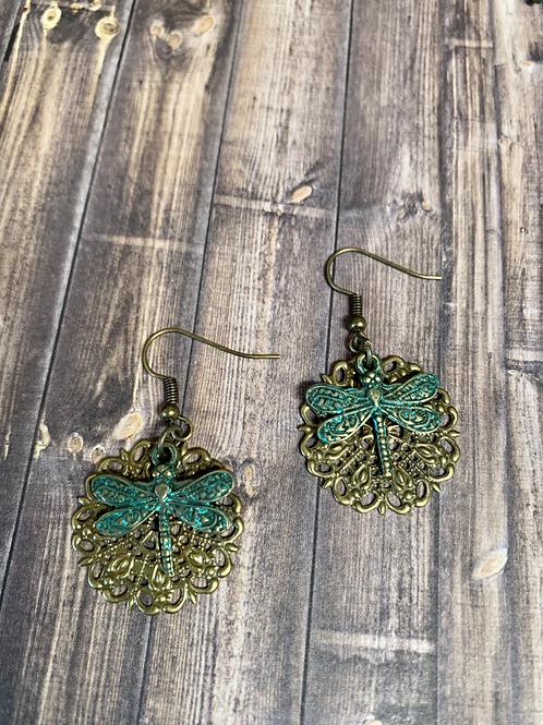 Dragonfly green charm earrings
