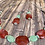 Thumbnail: Red wine  and aqua beads necklace & earrings