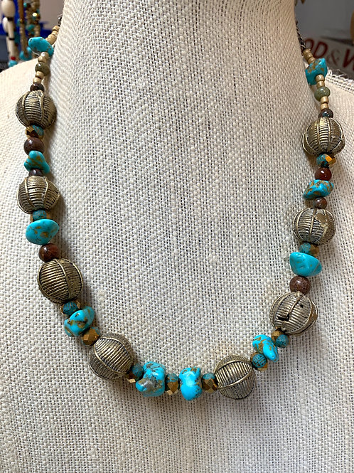 African brass beads & turquoise clusters