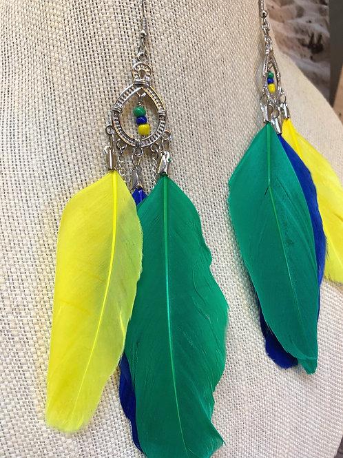 Brazilian colors feather earrings
