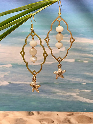 White Crystal Beads and starshell charm Earrings