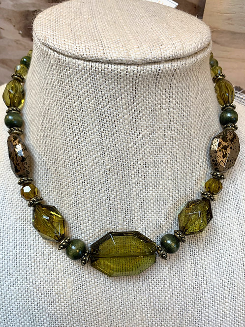 Olive green & gold resin necklace