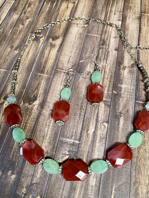 Red wine  and aqua beads necklace & earrings