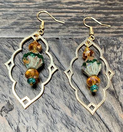 Green Marine Czech Crystal, Moroccan style Earrings