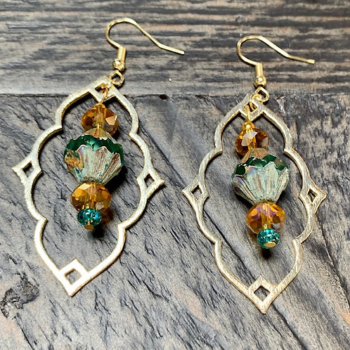 Green Marine Czech Crystal, Moroccan style Earrings