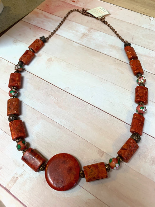 Red rock and cloisonné beads necklace