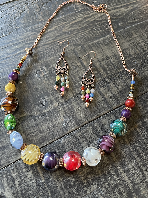 Colorful Bold Glass Beads necklace & earrings set