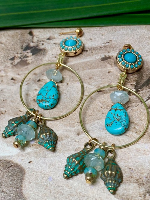 Round Golden Turquoise and Charms Earrings