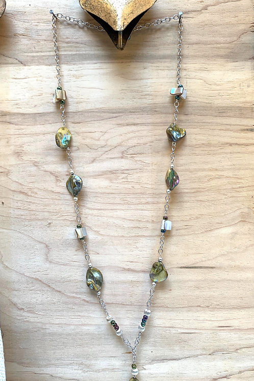 Long necklace abalone  & mother of pearl chain