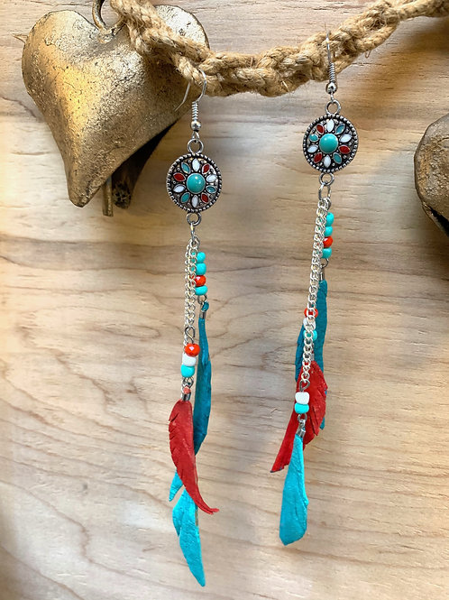Multi color leather feathers and glass beads