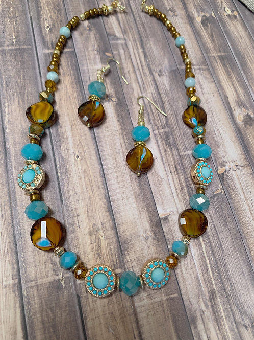 Brown Blue Necklace & Earrings