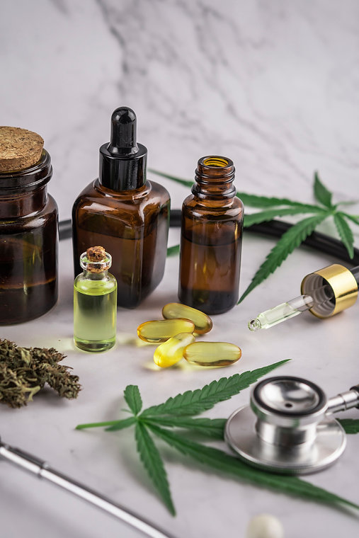 Assorted cannabis products, pills and cb