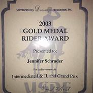 Jennifer Williams Gold Medal in 2003