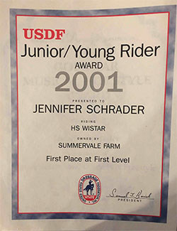 Jennifer Williams USDF award