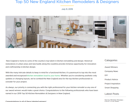 "PKsurroundings is an Award Winner ""Top 50 New England Kitchen Remodelers & Designers"""