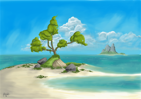 My attempt at a beach landscape. It was fun to step out of the ol' comfort zone.