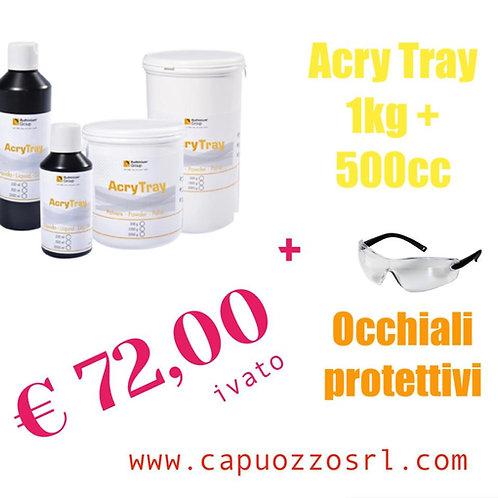 RESINA Acry Tray 1Kg polvere+500cc liquido + omaggio occhiali protettivi.