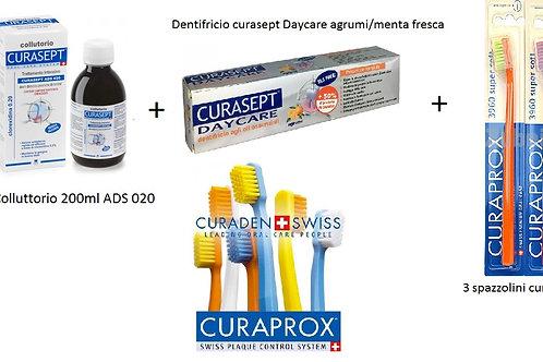Kit igiene dentale spazzolini +dentifricio +colluttorio