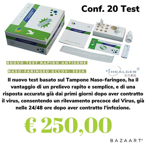 Test rapidi covid-19 Antigene Naso Faringeo 20pz