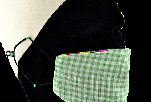 Masques Masculin 100% coton réversibles ! Green vichy
