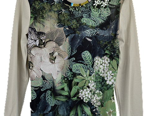 T-Shirt Green Black Flowers  (Taille 38-40)