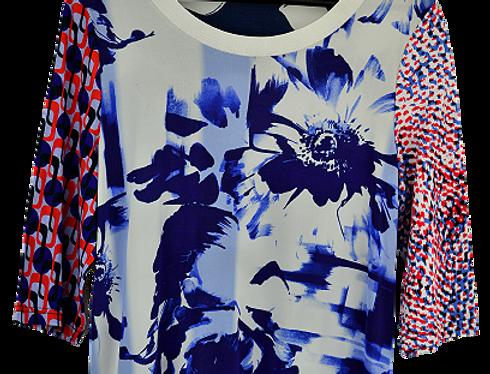 T-Shirt Bleu Flowers  (Taille 40-42)
