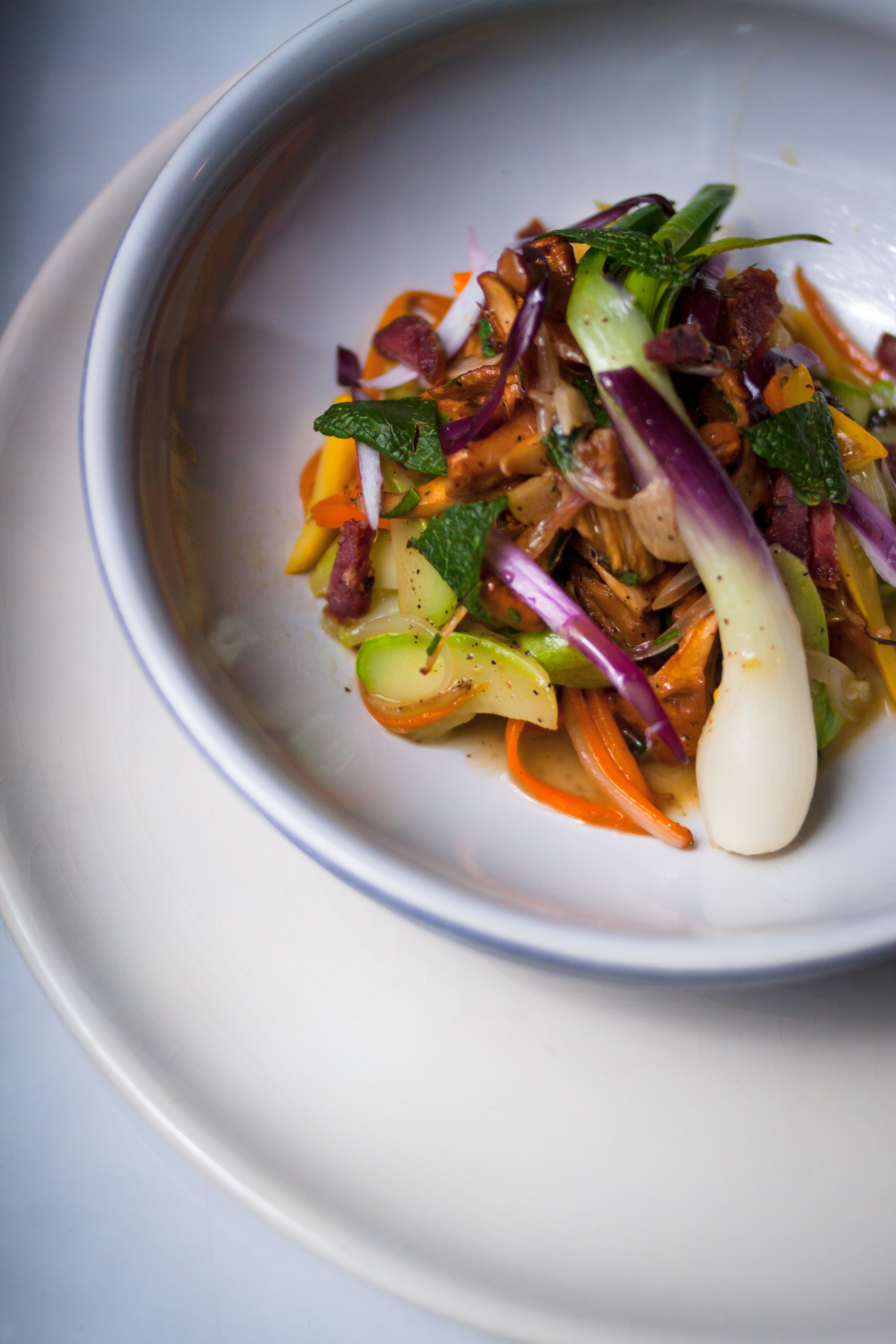 Légumes et lardons