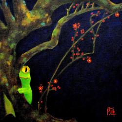 hiding behind plum tree 隠