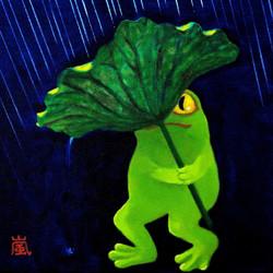 holding rotus leaf in storm 嵐