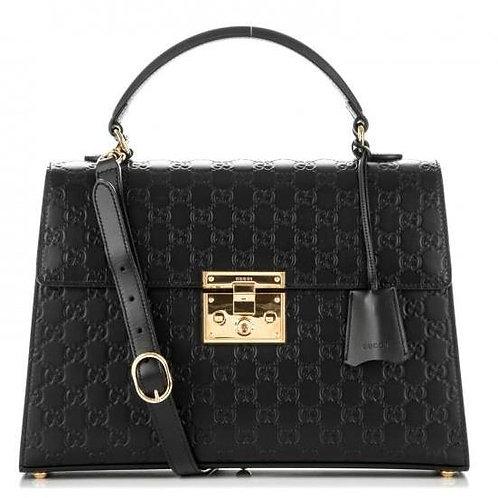 [GUCCI] Guccissima Leather Signature Padlock Top Handle Bag