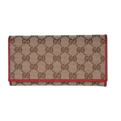 [GUCCI] Canvas Leather Continental Wallet