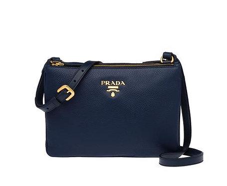 [PRADA] Vitello Leather Bandollera Double Zip Bag