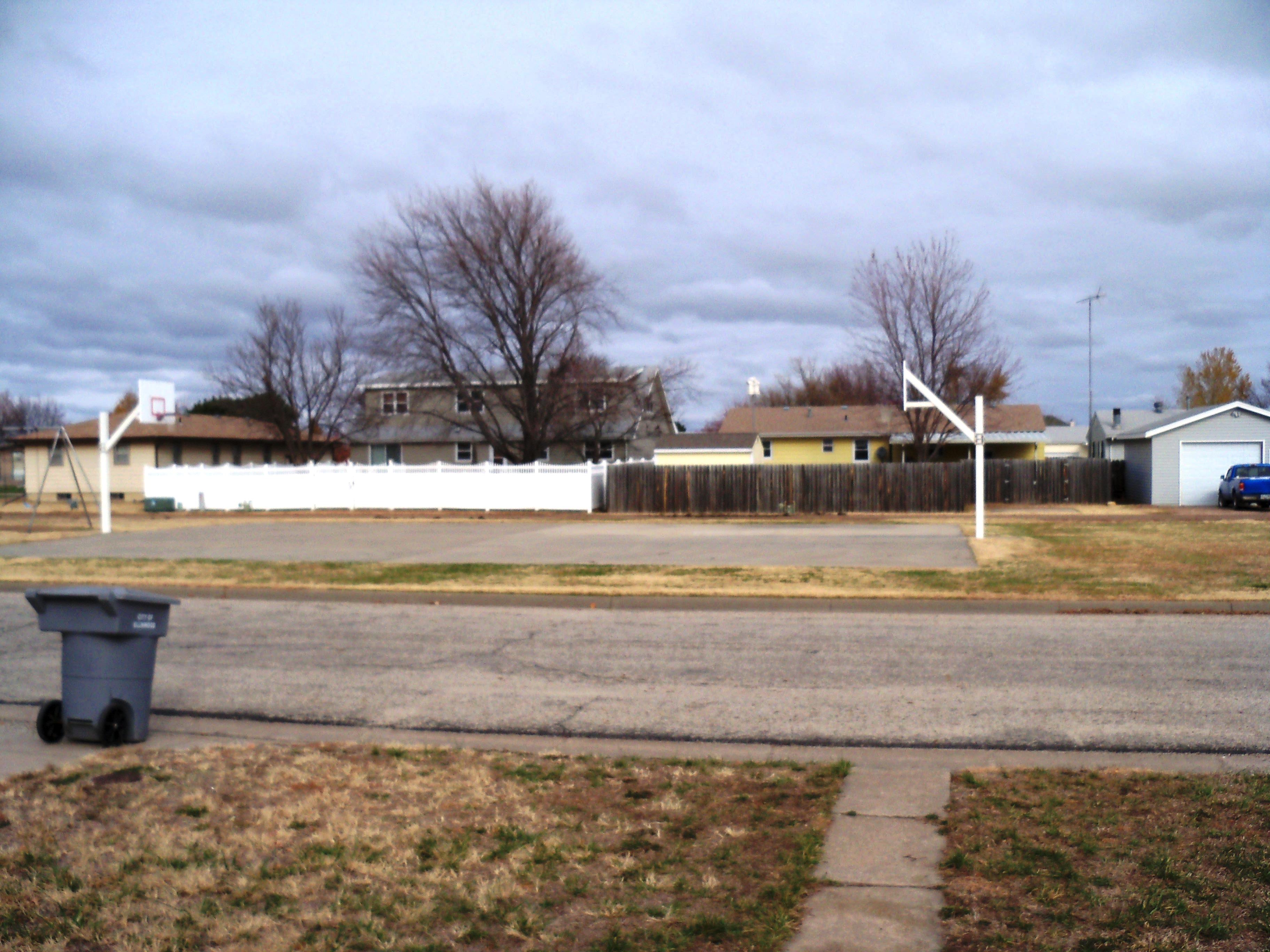 Basketball court across the street