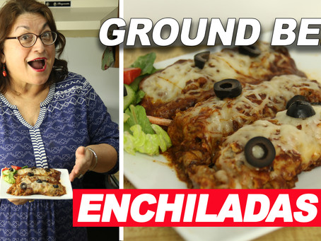 Ground Beef Enchiladas with Red Sauce (and Non-GMO Corn Tortillas too!)