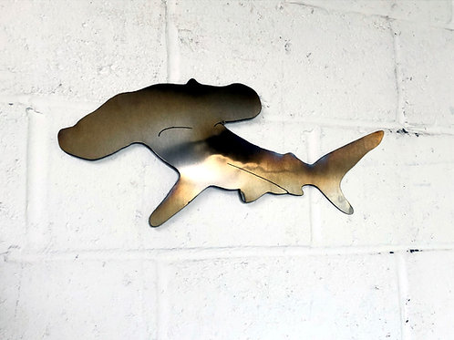 Superb hand crafted brushed stainless steel Hammerhead Shark - right facing