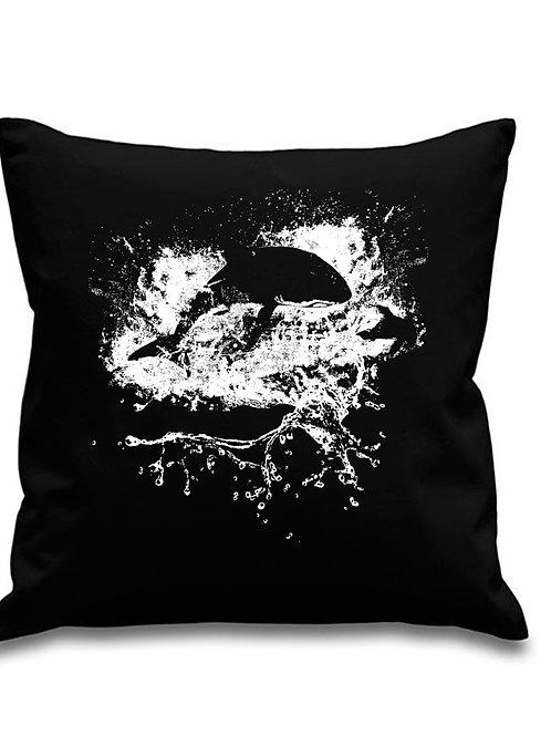 Great White Shark Breach - Scuba diving - Black canvas Cushion Cover 45cm x 45cm