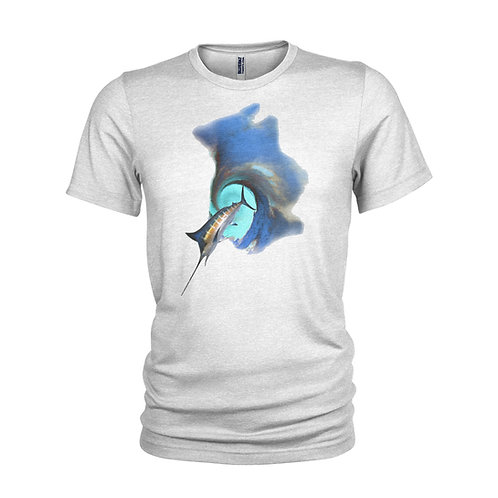 Giant Swordfish in the surf scuba dive / fishing A3 print T-shirt