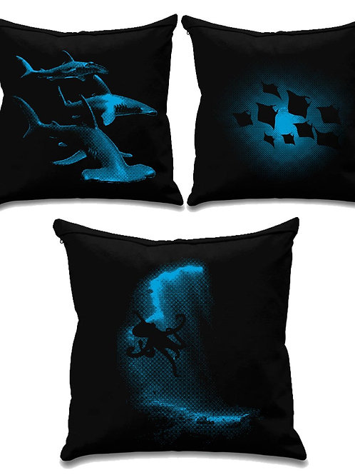Scuba collection 2 - Scuba diving - Black canvas Cushion Covers 45cm x 45cm