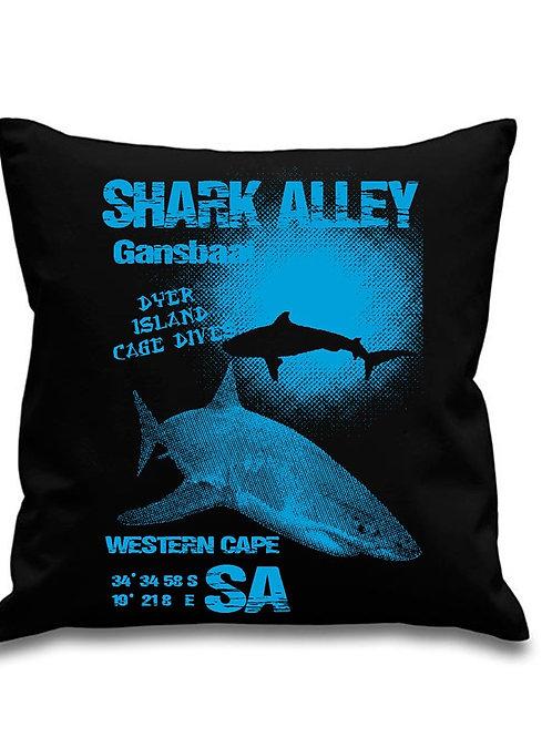 Great White Shark -Scuba Diving - Black canvas Cushion Cover 45cm x 45cm