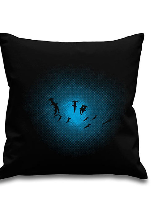 Hammerhead Shark Shoal - Scuba diving - Black canvas Cushion Cover 45cm x 45cm