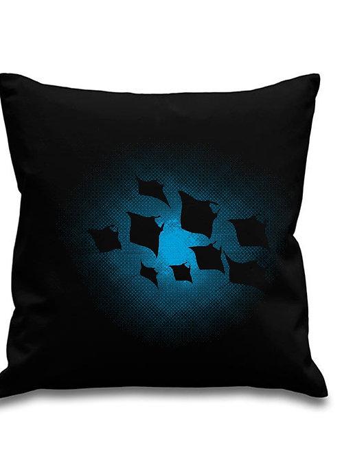 Manta Ray Night Shoal - Scuba diving - Black canvas Cushion Cover 45cm x 45cm