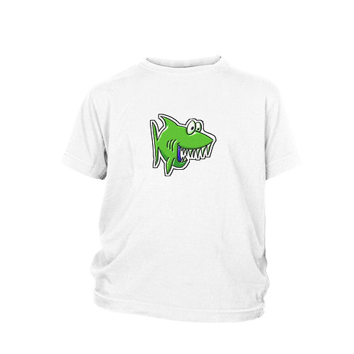 KIDS - Toy JAWS - Green cartoon SHARK Unique & cool Scuba diving T-shirt