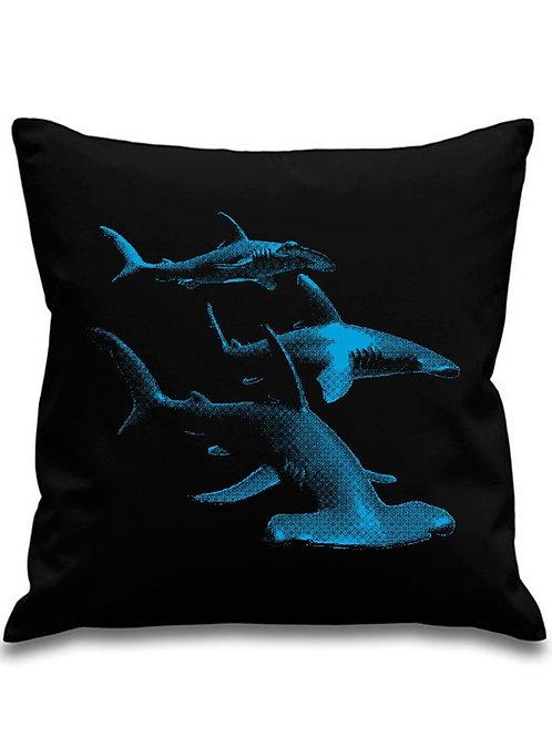 Pacific Hammerhead sharks - Black canvas Cushion Cover 45cm x 45cm