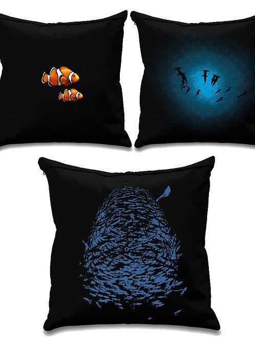 Scuba collection 1 -Scuba diving - Black canvas Cushion Covers 45cm x 45cm